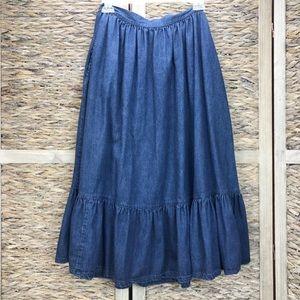 Vintage Denim Prairie Skirt Ruffle Blue Jean